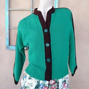 1940s Green Boucle Sweater Sz S to L Up to B36